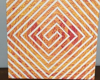 Orange Spiral Pendulum Painting