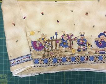 "Jellybean Junction Bunny Kin's by Cheri Strole Double border fabric. -  1yd + 34"""