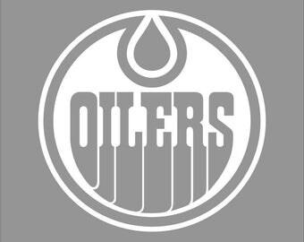 Edmonton Oilers White Vinyl Decal