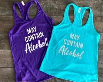 """Ladies Fitted Tank - """"May Contain Alcohol"""""""
