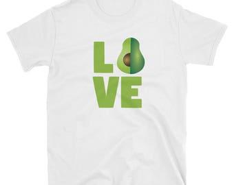 Avocado Lover Shirt Gift Love Vegan Gifts T Shirt Vegetarian Fruit Food Nerdy Tee Funny  Nerd Illustration Typography Art Letters Text Green