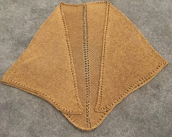 Handmade Dressy Gold Shawl with Lace Hem and Eyelet Detail