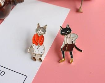 Mr. Mrs Cat Pin Set