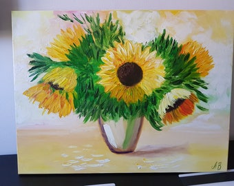 Oil Painting on Canvas 'Sunflower bouquet', 45x60