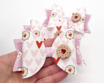 jammy dodger jam biscuit hair bow clip head glitter artisan large dolly