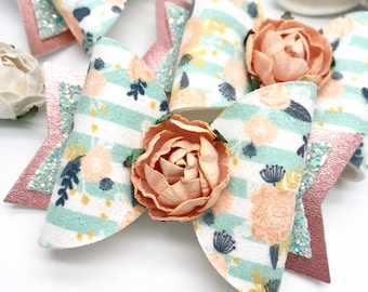 Faux Suede floral artisan Large Dolly hair bow clip headband hair accessories shop