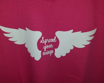 Spread Your Wings v-neck t-shirt with angel wings