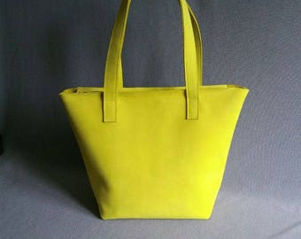 Leather shopper, yellow leather satchel
