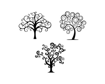 swirl tree SVG, swirl tree vector, PNG, tree Cut Files, Svg Files, Cricut Files, vector Files, tree silhouette