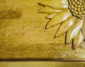 Hand carved Sunflower Coffee Table Beech/Oak