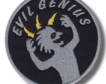 Evil genius variation 2 - embroidered patch, 8x8 cm