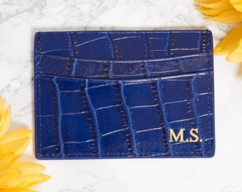 Customised Genuine Croc Leather Double Card Holder in blue - Personalised Monogrammed initials mens and womens business card holder, wallet