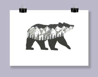 Landscape bear print