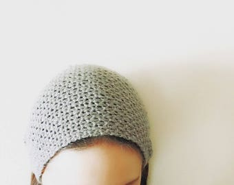 Soft knit knitted turban winter headband with vintage button ear warmer