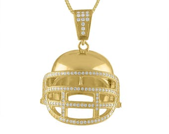 Gold Plated Sterling Silver Football Helmet With Chain