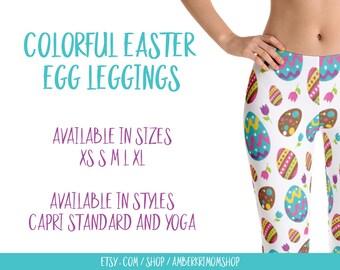 Leggings, Woman's Printed Leggings, Cute Leggings, Fun Leggings, Easter Leggings, Capri Leggings, Colorful Easter Egg Leggings