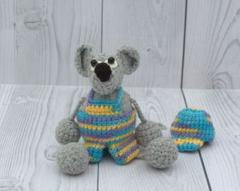 Beautiful gray mouse in clothes - Crochet stuffed mouse toy - Tiny mouse in hat - Crochet little mouse - Crochet gray mouse