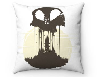 Skull Faux Suede Square Pillow