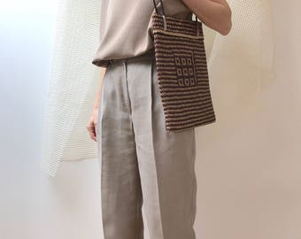 minimalist vintage purse woven Wicker