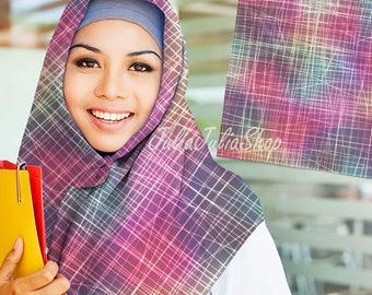 Art Lines Rainbow Square Scarves (hijab) 110cm x 110cm Material Voile Turkish