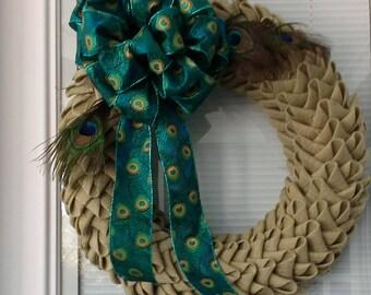 Peacock Pretty Burlap Petal Wreath
