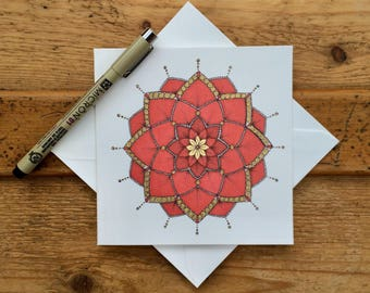 Mandala card / valentines card / birthday card / greetings card / handmade / thank you card / meditation art / red / blank card / mandala