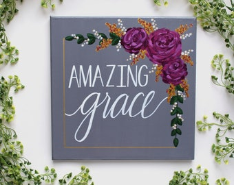 "12""x12"" Amazing Grace Hand Painted Canvas / Calligraphy"