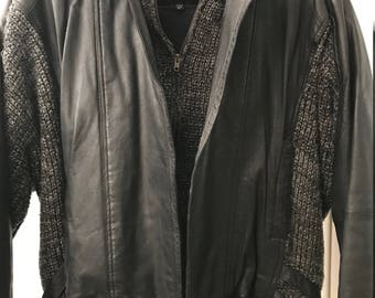 Mint Men's XL Vintage 1980's Black Leather Coat with attached sweater from Berman's