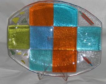 Gefuste Glass bowl, oval,/fused glass