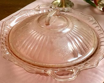 Antique pink carnival glass covered dish