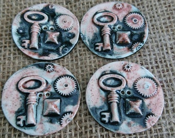 Set of 4 Handmade Ceramic Steampunk Design Buttons.  Bespoke Buttons. Porcelain Buttons Knitting Handmade Craft Supplies Haberdashery.