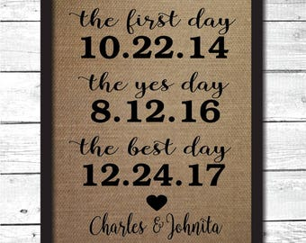 the first day the yes day the best day, burlap print, anniversary gift, personalized wedding gift, the first day print, burlap first day, L6