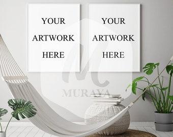 2 Panel Frame Mockup, wHITE Portrait Frame, Styled Stock Photograpy, Scandinavian Style Interior, PSD Mockup