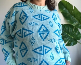 Vintage German 80's Geometric Blue Pullover Sweater Size Large