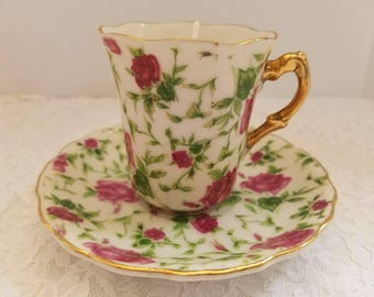 Vintage Sweet Pea Tea Cup and Saucer Soy Candle