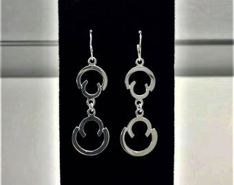 Half Circle Silver Earrings