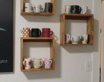 Set of three rustic square shelves!