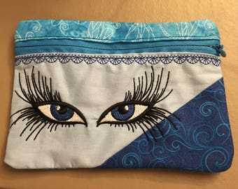 Cute Embroidered Makeup Bag with Eyes