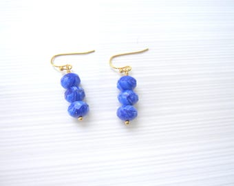 Gold and Blue Earrings, Blue Earrings, Girl's or Teen's, Gold and Blue
