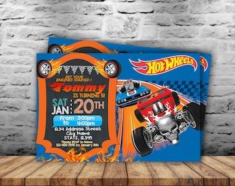 Hot Wheels Invitation,Hot Wheels Birthday Invitation,Hot Wheels Party Invitation,Hot Wheels Birthday Invite,Hot Wheels Printable SL