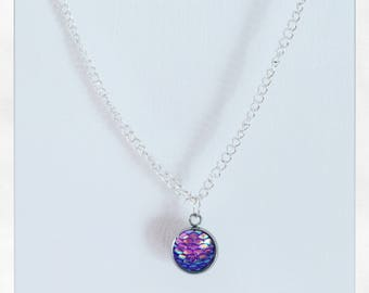 Purple Irridescent Mermaid Scale Necklace