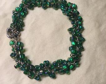Green Sparkly Sead Bead Bracelet