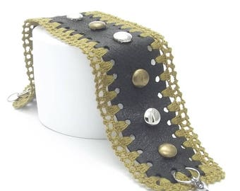 Crochet, Genuine Leather Bracelet, Rings and Claps Steel, Metal Rivets, Olive Color, Best Selling Items, Best Selling, Free Shipping, Gift