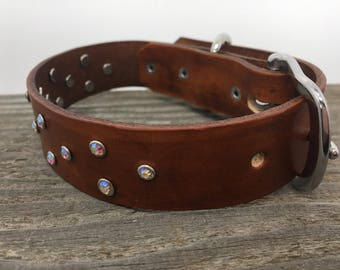 Rhinestone Bling Leather Dog Collar/Fancy Dog Collar/Bling Dog collar