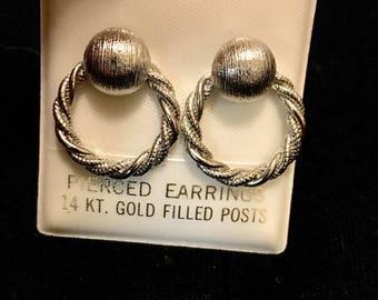 Vintage Silver Dangle Hoop Earrings!