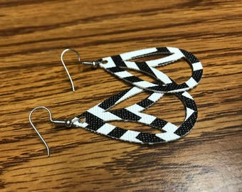 Faux Leather Earrings, Chevron pattern