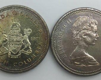 Canada BC 1971 Silver Dollar Crown Coin Proof Condition Gift Idea Souvenir
