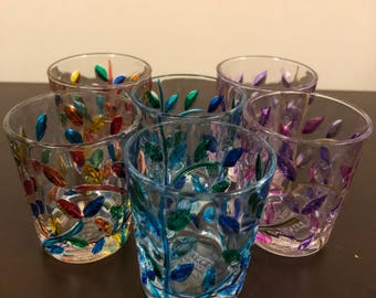 Set of Designed Liqueur Glasses (6 pieces), Handmade glasses, Painted liquour Glasses, Shot glasses, Glass painted glasses made in Portugal