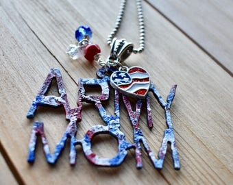 Army Mom, Pendant, Keychain, Military Family, Support the Troops, USA, America, Red White & Blue