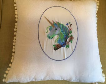 Unicorn cream cushion